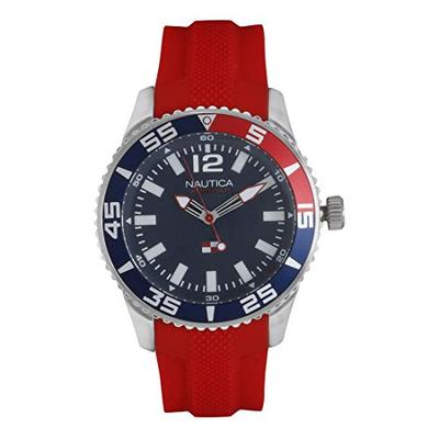 Nautica Men's Pacific Beach Stainless Steel Japanese-Quartz Watch with Silicone Strap, red, 20.6 (Mo