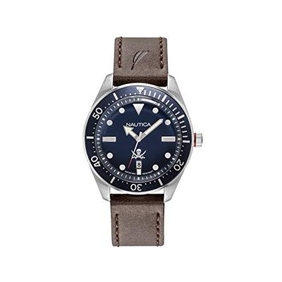 Nautica Men's Hillcrest Stainless Steel Japanese-Quartz Watch with Leather Strap, Brown, 22 (Model: