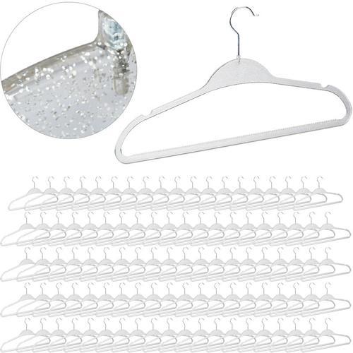 Relaxdays - 100 x Kleiderbügel Glitzer Design, Kleiderhänger Shirt, Bluse, Stange für Hosen &