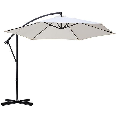Sonnenschirm Ampelschirm Marktschirm Kurbelsonnenschirm Ø300cm UV-Schutz 50+, Creme