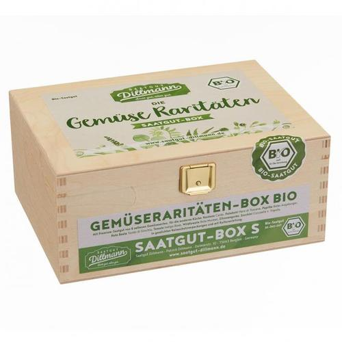 Saatgut-Holzbox Gemüseraritäten, 8 Saatgut-Sorten