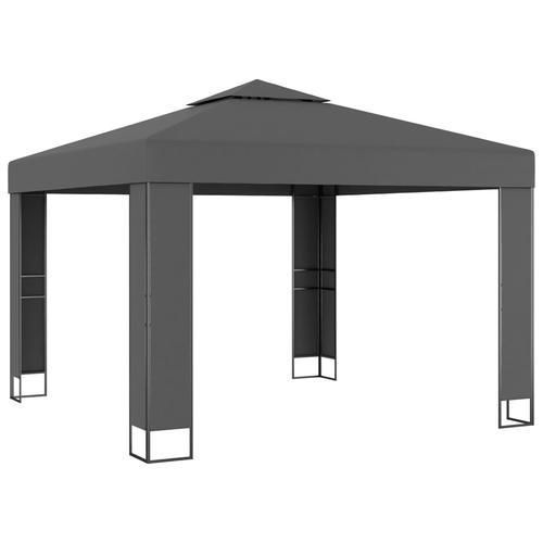 vidaXL Pavillon mit Doppeldach 3 x 3 m Anthrazit