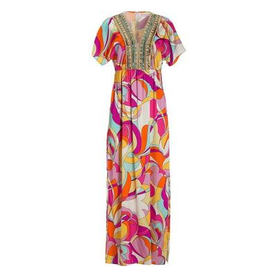 Boston Proper - Abstract Print Embellished Maxi Dress - Hamptons Swirl - X Small