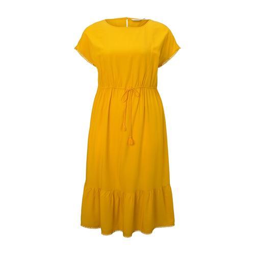 TOM TAILOR MY TRUE ME Damen Curvy - Sommerliches Kleid mit Häkel-Details, gelb, Gr.52