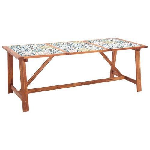 vidaXL Garten-Esstisch 206×90×75 cm Fliesenplatte Akazie Massivholz