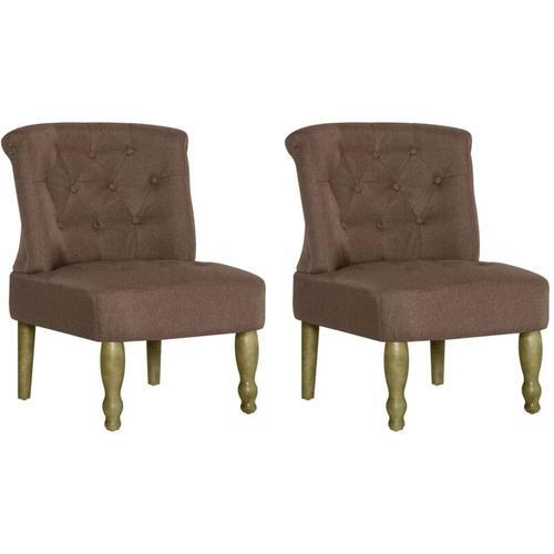 Französischer Stuhl Stoff Braun 2 Stk.