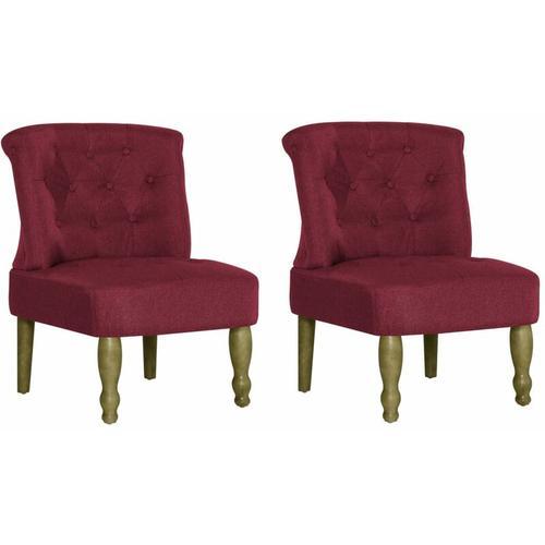 Französischer Stuhl Stoff Weinrot 2 Stk.