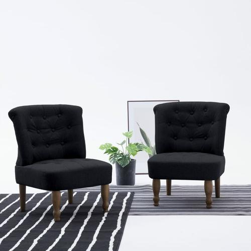 Vidaxl - Französischer Stuhl Stoff Schwarz 2 Stk.
