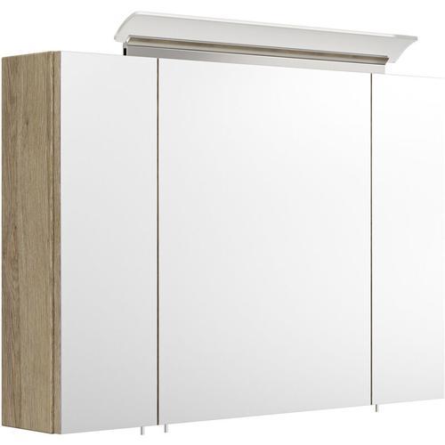 Spiegelschrank 90cm inkl. Design LED-Lampe und Glasböden eiche hell