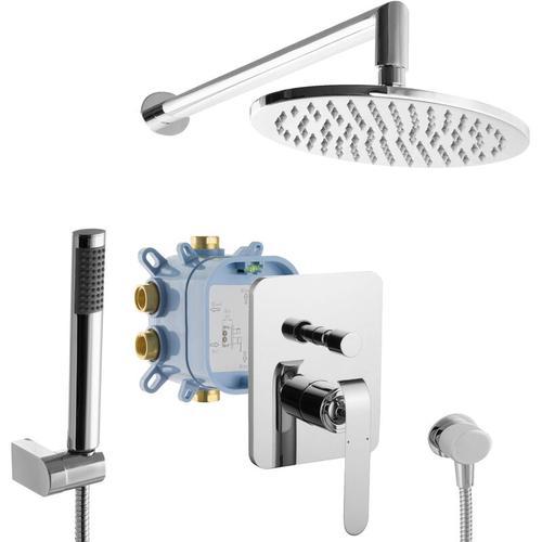 Duschsystem Unterputzarmatur Montagebox ovale Regendusche 2-Wege