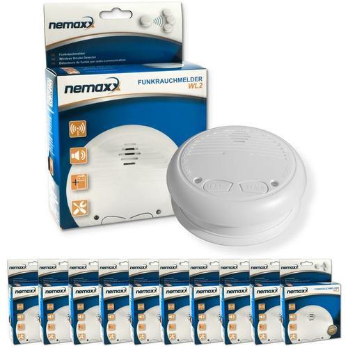 10x Nemaxx WL2 Funkrauchmelder - hochwertiger Rauchmelder Brandmelder Set Funk koppelbar vernetzt