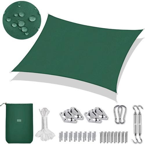 PES Sonnensegel Rechteck 3 x 2m Sonnenschutzsegel mit Montageset, Grün
