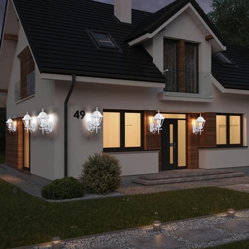 6er Set LED Wand Leuchten ALU Laternen Landhaus Stil Außen Beleuchtung Garten Lampen weiß im Set
