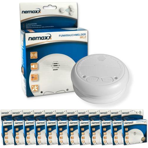 12x Nemaxx WL2 Funkrauchmelder - hochwertiger Rauchmelder Brandmelder Set Funk koppelbar vernetzt