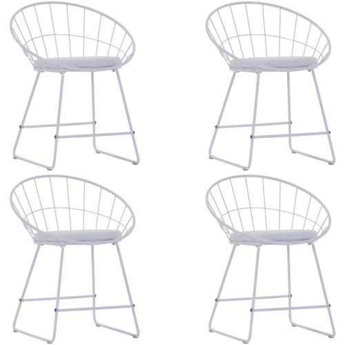 Esszimmerstühle mit Kunstledersitzen Weiß Stahl 4 Stk.