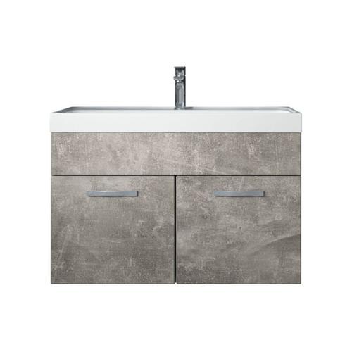 Badezimmer Badmöbel Set Paso 01 80cm Waschbecken Beton (grau) - Unterschrank Schrank Waschbecken