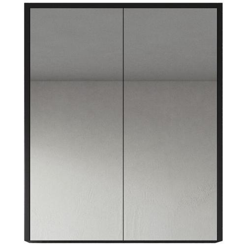 Spiegelschrank Cuba 60cm Schwarzes Holz - Schrank Spiegelschrank Spiegel Badezimmer Badmöbel Set
