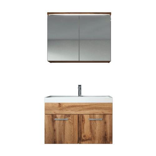 Badezimmer Badmöbel Set Paso 02 80cm Waschbecken Wotan (braun) - Unterschrank Schrank Waschbecken