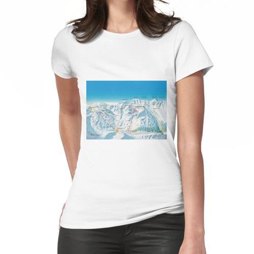 Skigebiet St. Moritz Diavolezza Karte Frauen T-Shirt