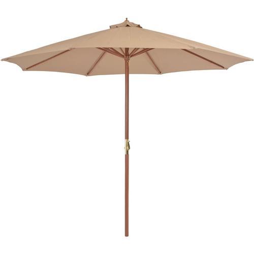 Sonnenschirm mit Holz-Mast 300cm Taupe