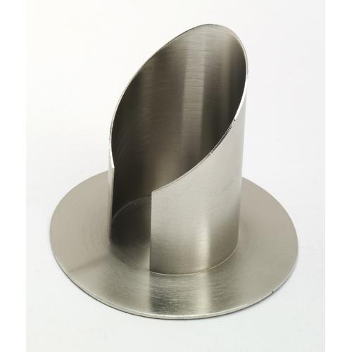 Röhren Taufkerzenhalter mit Schlitz, Messing Silber matt gebürstet für Ø 7 cm für Taufkerzen