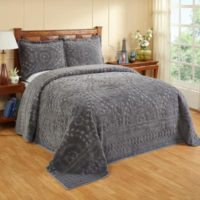 Rio Collection Chenille Bedspread by Better Trends in Gray (Size TWIN)