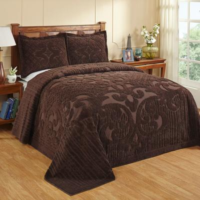 Ashton Collection Tufted Chenille Bedspread by Better Trends in Chocolate (Size FULL/DOUBLE)