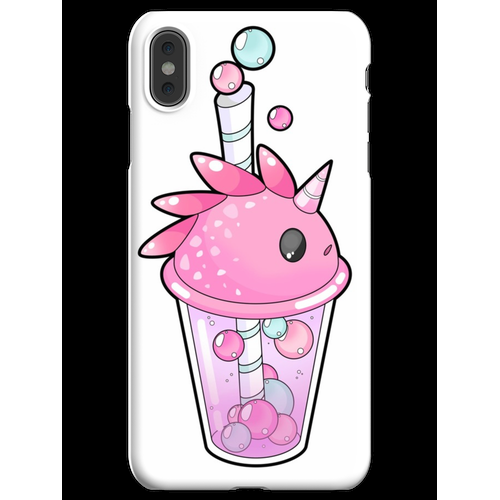 Bubble Tee in einem rosa Plastikbecher iPhone XS Max Handyhülle