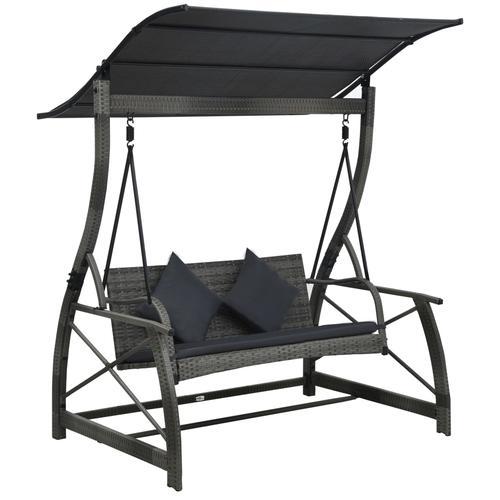 vidaXL Hollywoodschaukel 3-Sitzer mit Dach Poly Rattan Grau