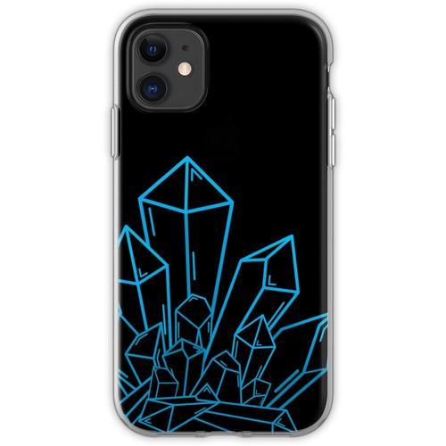 Blauer Kristallblock Auf Schwarzem Flexible Hülle für iPhone 11