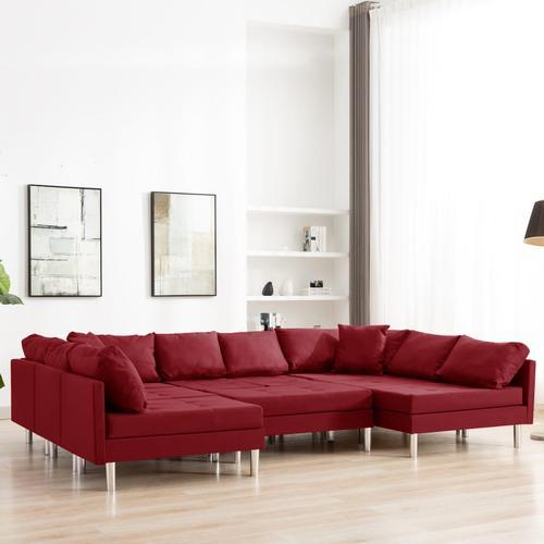 vidaXL Modulares Sofa Stoff Weinrot