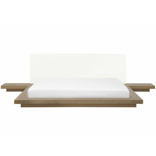 Beliani - Wasserbett Braun 180 x 200 cm Weiß Kunstleder Mit Lattenrost Holzfurnierte MDF Platte