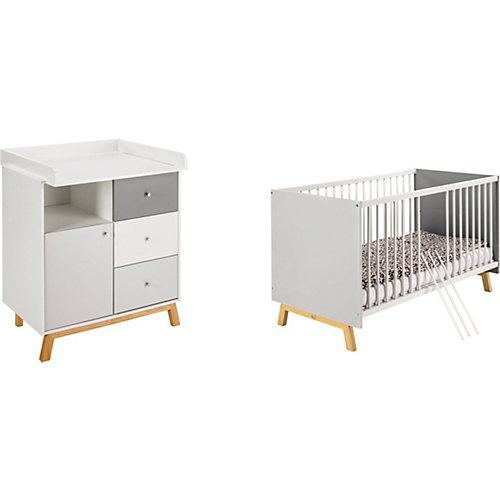 Kinderzimmer Sparset Vegas - Kombi-Kinderbett und Wickelkommode weiß