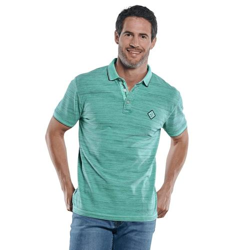 Poloshirt in melierter Optik Engbers Minttürkis