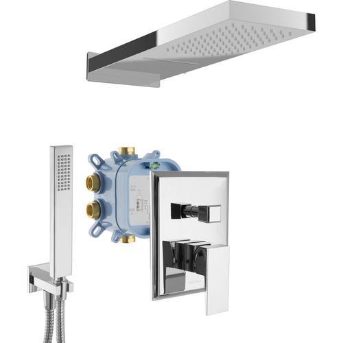 Paulgurkes - Wasserfall Dusche-Set Duschsystem Regendusche Eckig