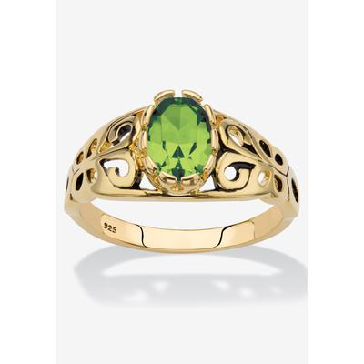 Gold over Sterling Silver Open Scrollwork Simulated Birthstone Ring by PalmBeach Jewelry in August (Size 7)