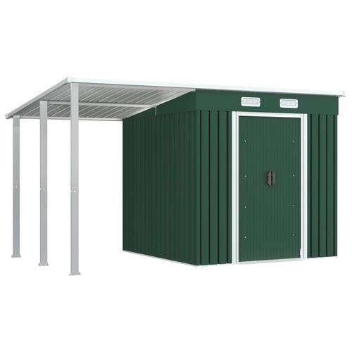 vidaXL Gerätehaus mit Vordach Grün 346×193×181 cm Stahl
