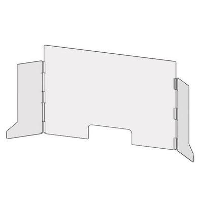 """Accuform Signs PRL700 Countertop Safety Barrier w/ Wings & Pass Thru Cutout - 36""""W x 24""""H, Thermoplastic, Clear"""