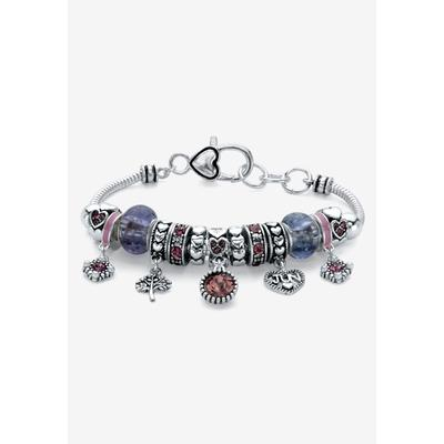 """Plus Size Women's Silver-Plated Simulated Birthstone 8"""" Charm Bracelet by PalmBeach Jewelry in June"""