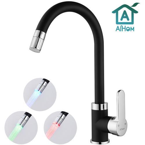 Aihom - LED Küchenarmatur mit 3-Farbtemperaturkontrolle, 360° Drehbar Wasserhahn U-Form