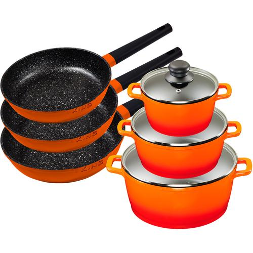 KING Topf-Set Shine Orange, Aluminiumguss, (Set, 9 tlg., 3 Pfannen, Töpfe, Deckel), Induktion orange Topfsets Töpfe Haushaltswaren
