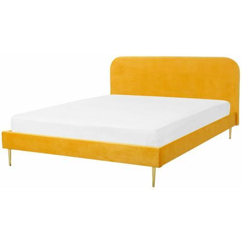 Bett Gelb Samtstoff/Metall 140 x 200 cm Retro Polsterbett Doppelbett Schlafzimmer