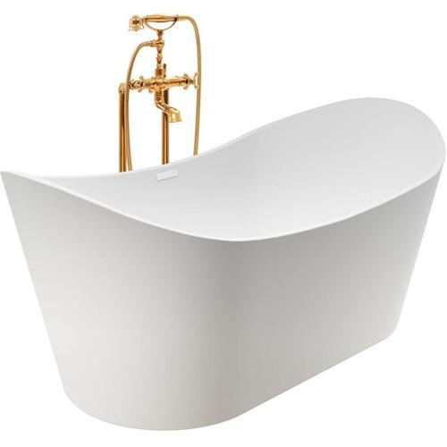 Freistehende Badewanne und Wasserhahn 204 L 99,5 cm Golden