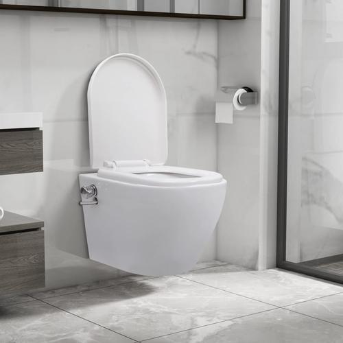 vidaXL Wand-WC ohne Spülrand mit Bidet-Funktion Keramik Weiß