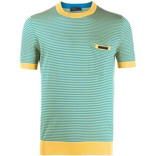 Prada Gestricktes T-Shirt mit Streifen
