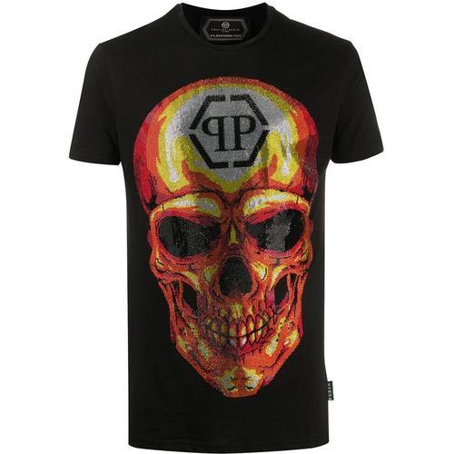 Philipp Plein T-Shirt mit kristallverziertem Totenkopf