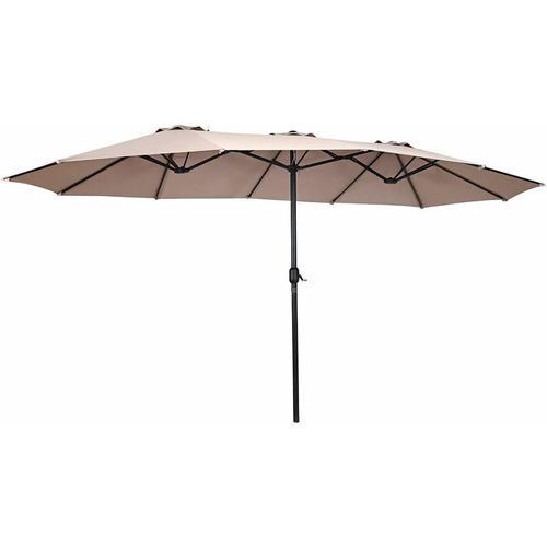 ?480cm Doppelsonnenschirm, Marktschirm mit Kurbel, Gartenschirm Terrassenschirm Kurbelschirm