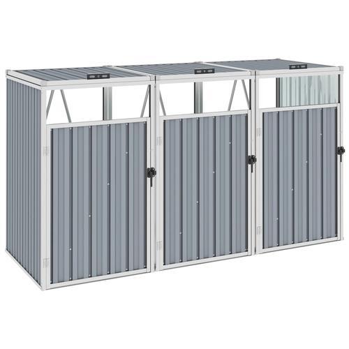 vidaXL Mülltonnenbox für 3 Mülltonnen Grau 213×81×121 cm Stahl