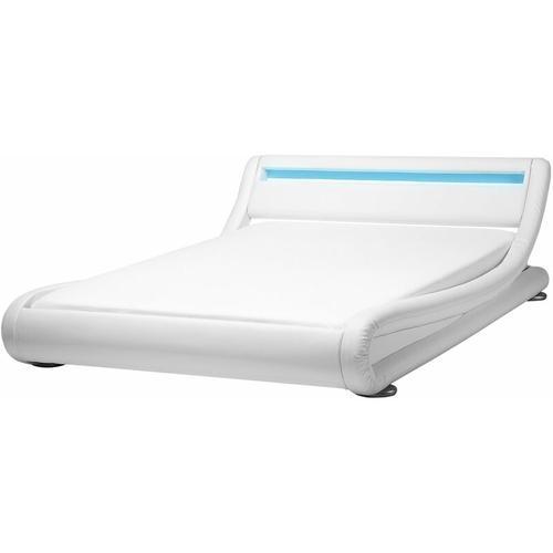 Beliani - Wasserbett Weiß 140 x 200 cm aus Kunstleder mit LED-Beleuchtung Designerbett Rechteckig