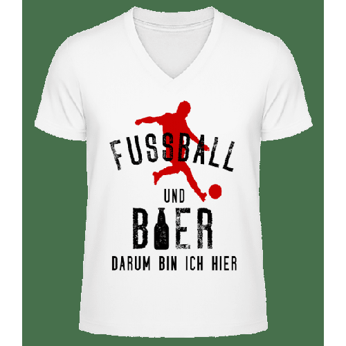 Fußball Und Bier - Männer Bio T-Shirt V-Ausschnitt